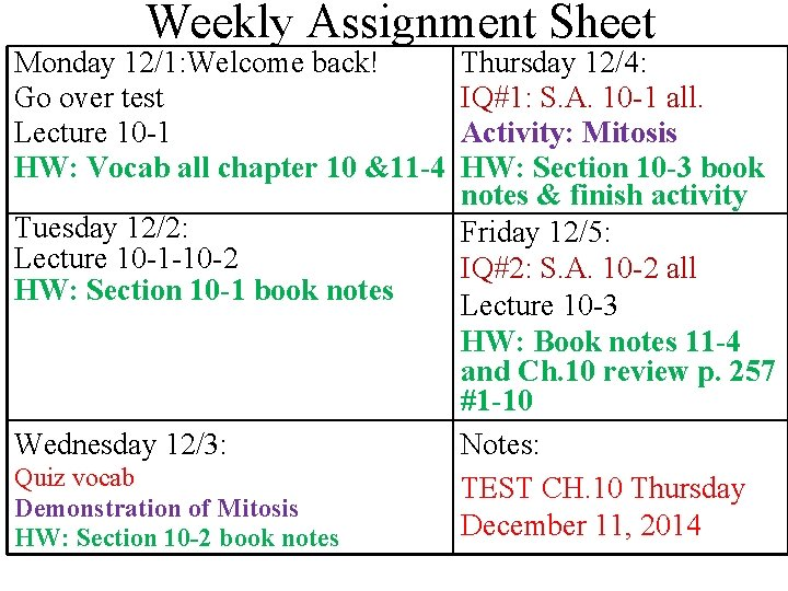 Weekly Assignment Sheet Monday 12/1: Welcome back! Go over test Lecture 10 -1 HW: