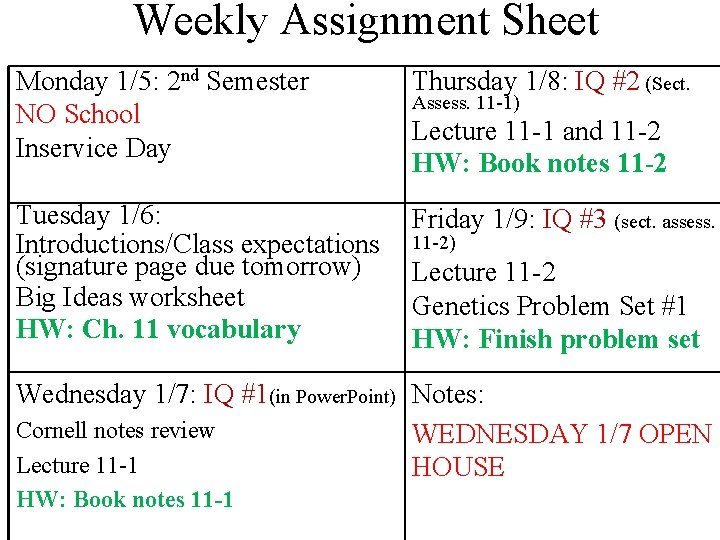 Weekly Assignment Sheet Monday 1/5: 2 nd Semester NO School Inservice Day Thursday 1/8: