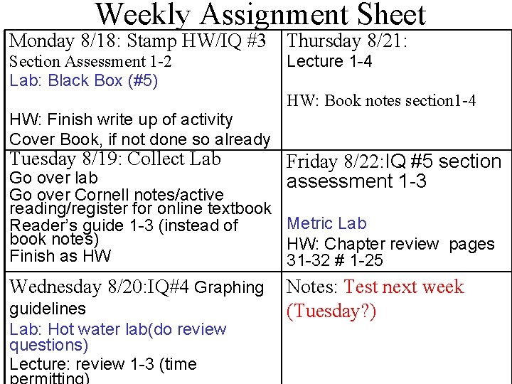 Weekly Assignment Sheet Monday 8/18: Stamp HW/IQ #3 Thursday 8/21: Section Assessment 1 -2