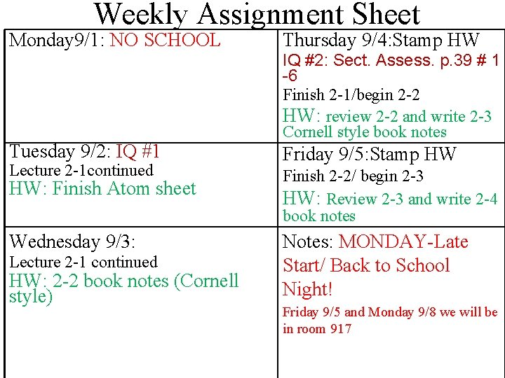 Weekly Assignment Sheet Monday 9/1: NO SCHOOL Tuesday 9/2: IQ #1 Lecture 2 -1