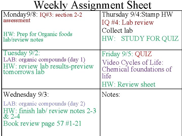 Weekly Assignment Sheet Monday 9/8: IQ#3: section 2 -2 assessment HW: Prep for Organic