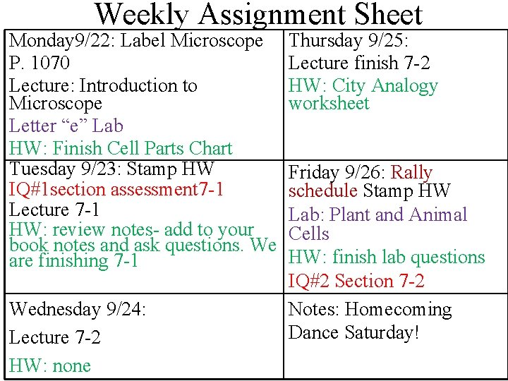 Weekly Assignment Sheet Monday 9/22: Label Microscope P. 1070 Lecture: Introduction to Microscope Letter