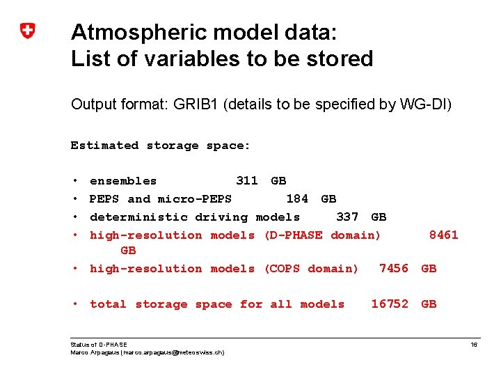 Atmospheric model data: List of variables to be stored Output format: GRIB 1 (details