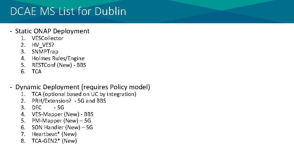 DCAE MS List for Dublin - Static ONAP Deployment 1. 2. 3. 4. 5.