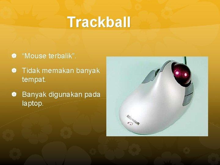 "Trackball ""Mouse terbalik"". Tidak memakan banyak tempat. Banyak digunakan pada laptop."