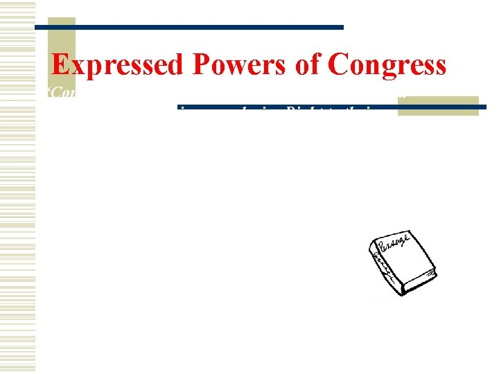 """Expressed Powers of Congress """"Congress shall promote the Progress of Science and useful Arts"""