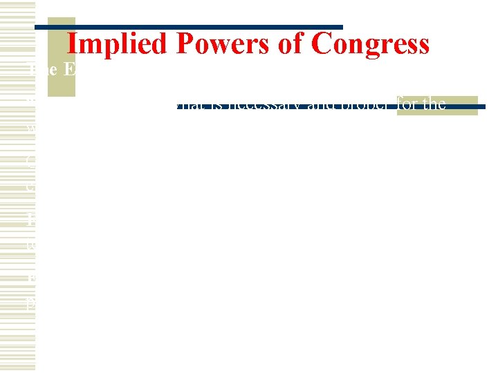 """Implied Powers of Congress The Elastic Clause- """"Congress can do what is necessary and"""