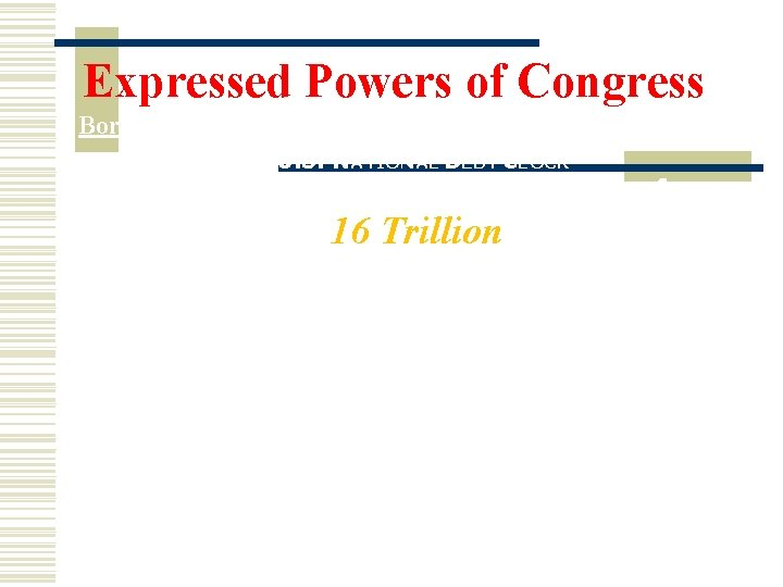 Expressed Powers of Congress Borrowing con't U. S. NATIONAL DEBT CLOCK The Outstanding Public