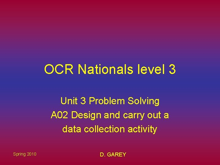 OCR Nationals level 3 Unit 3 Problem Solving A 02 Design and carry out