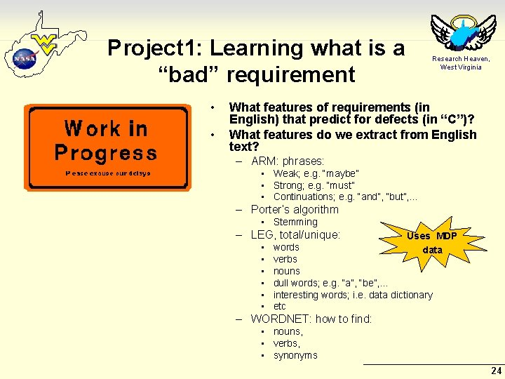 """Project 1: Learning what is a """"bad"""" requirement • • Research Heaven, West Virginia"""