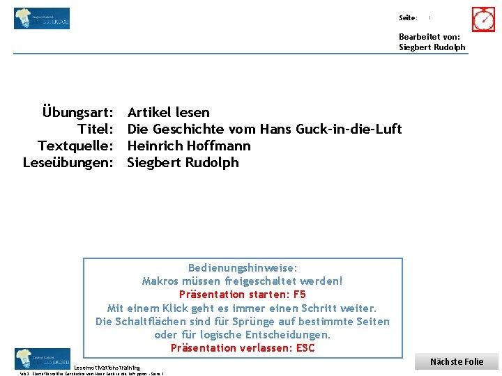 Übungsart: Titel: Seite: Quelle: 1 Bearbeitet von: Siegbert Rudolph Übungsart: Titel: Textquelle: Leseübungen: Artikel