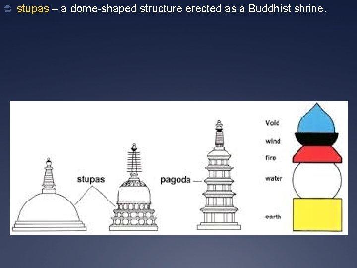 Ü stupas – a dome-shaped structure erected as a Buddhist shrine.