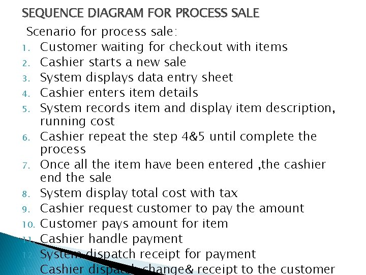 SEQUENCE DIAGRAM FOR PROCESS SALE Scenario for process sale: 1. Customer waiting for checkout