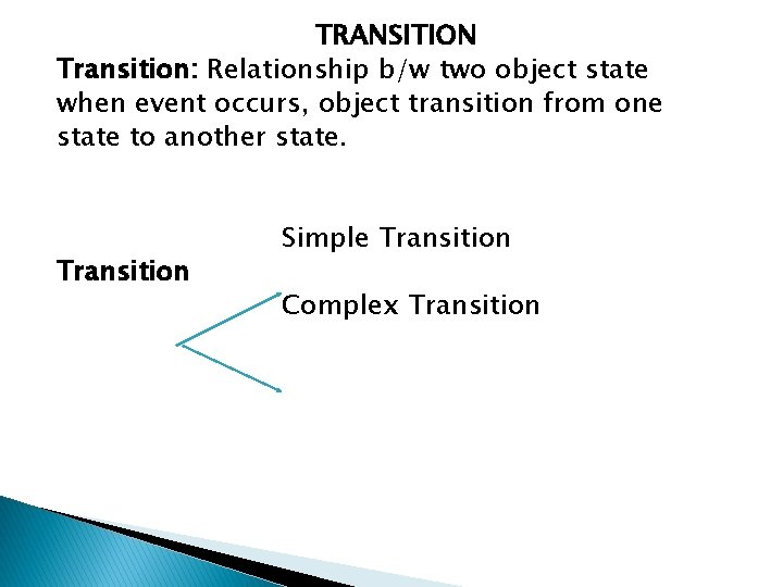 TRANSITION Transition: Relationship b/w two object state when event occurs, object transition from one