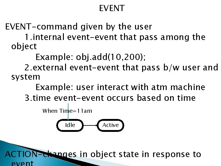EVENT-command given by the user 1. internal event-event that pass among the object Example: