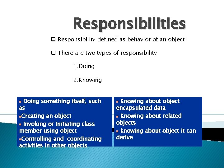 Responsibilities q Responsibility defined as behavior of an object q There are two types