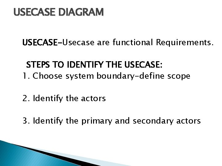 USECASE DIAGRAM USECASE-Usecase are functional Requirements. STEPS TO IDENTIFY THE USECASE: 1. Choose system