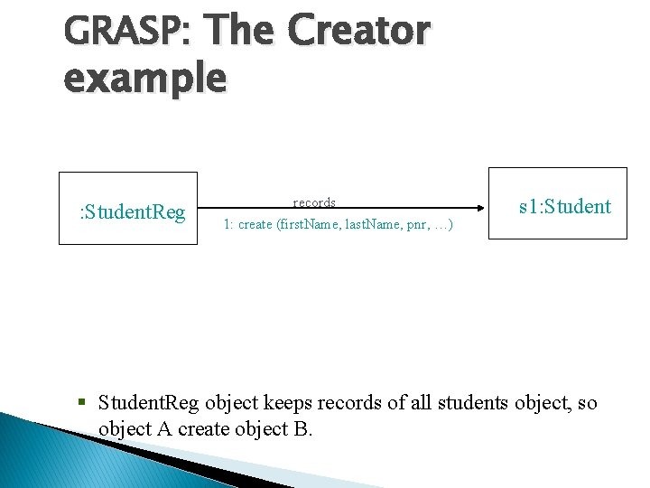 GRASP: The Creator example : Student. Reg records 1: create (first. Name, last. Name,
