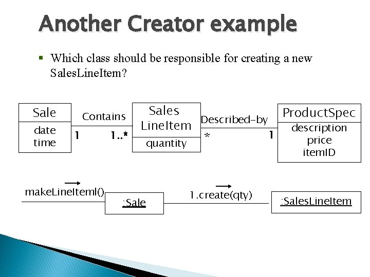 Another Creator example § Which class should be responsible for creating a new Sales.