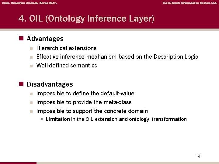 Dept. Computer Science, Korea Univ. Intelligent Information System Lab. 4. OIL (Ontology Inference Layer)