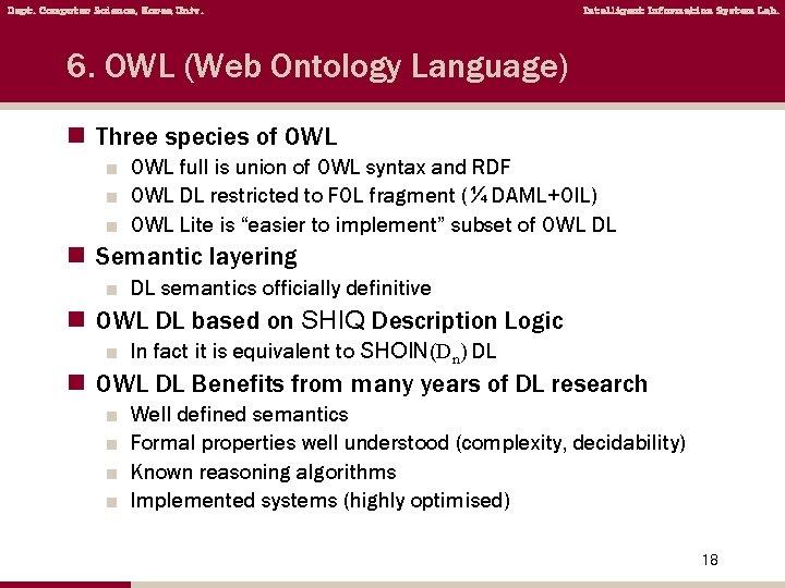 Dept. Computer Science, Korea Univ. Intelligent Information System Lab. 6. OWL (Web Ontology Language)