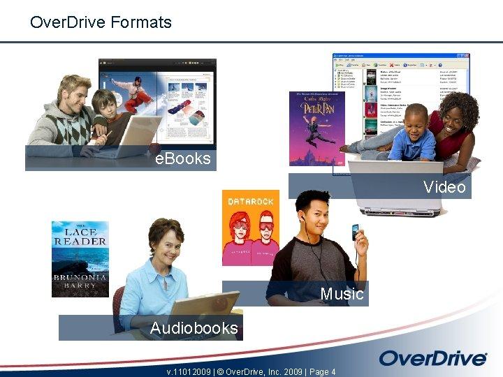 Over. Drive Formats e. Books Video Music Audiobooks v. 11012009 | © Over. Drive,