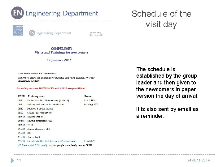 Schedule of the visit day The schedule is established by the group leader and