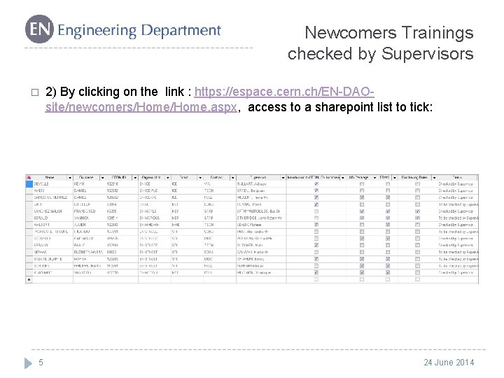 Newcomers Trainings checked by Supervisors � 5 2) By clicking on the link :