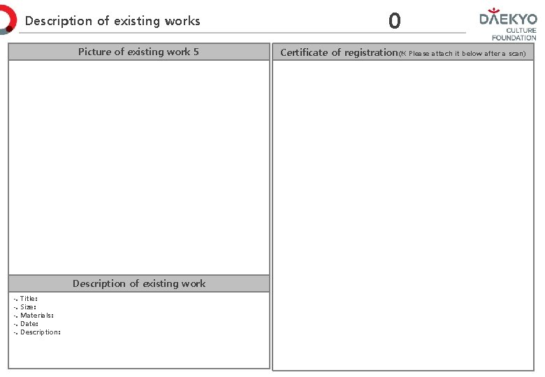 Description of existing works Picture of existing work 5 Description of existing work -.