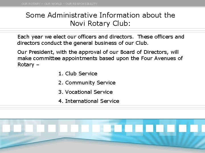 OUR ROTARY – OUR WORLD - OUR RESPONSIBILITY Some Administrative Information about the Novi