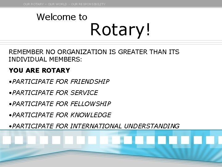 OUR ROTARY – OUR WORLD - OUR RESPONSIBILITY Welcome to Rotary! REMEMBER NO ORGANIZATION