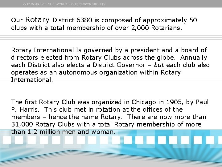 OUR ROTARY – OUR WORLD - OUR RESPONSIBILITY Our Rotary District 6380 is composed