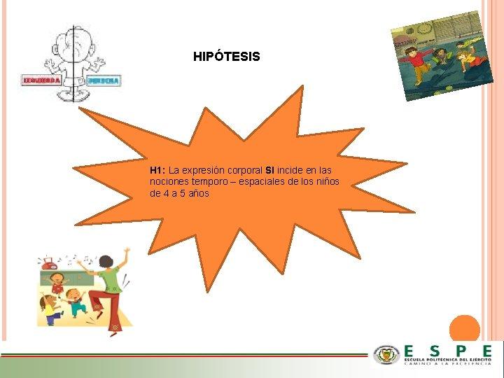 HIPÓTESIS H 1: La expresión corporal SI incide en las nociones temporo – espaciales