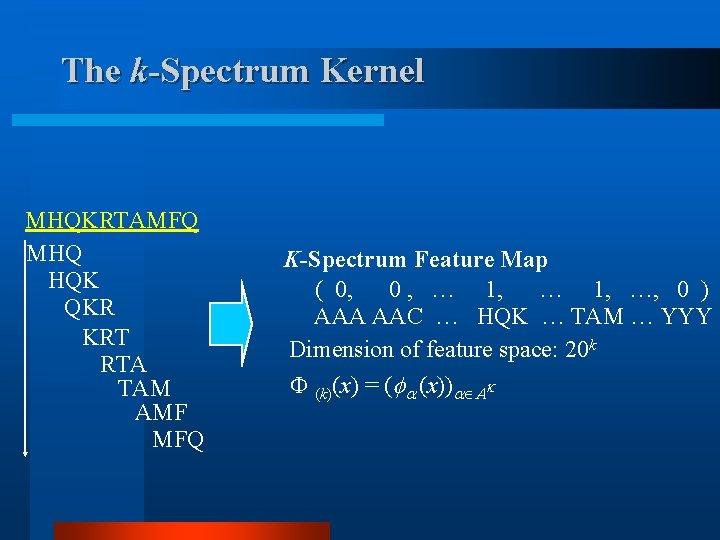 The k-Spectrum Kernel MHQKRTAMFQ MHQ HQK QKR KRT RTA TAM AMF MFQ K-Spectrum Feature