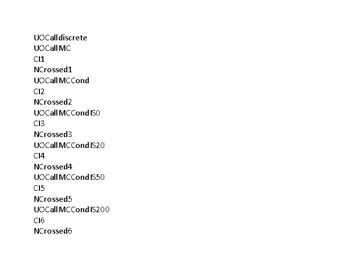 UOCalldiscrete UOCall. MC CI 1 NCrossed 1 UOCall. MCCond CI 2 NCrossed 2 UOCall.