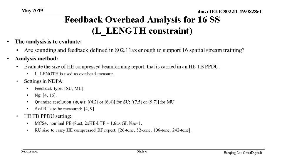 May 2019 doc. : IEEE 802. 11 -19/0828 r 1 Feedback Overhead Analysis for