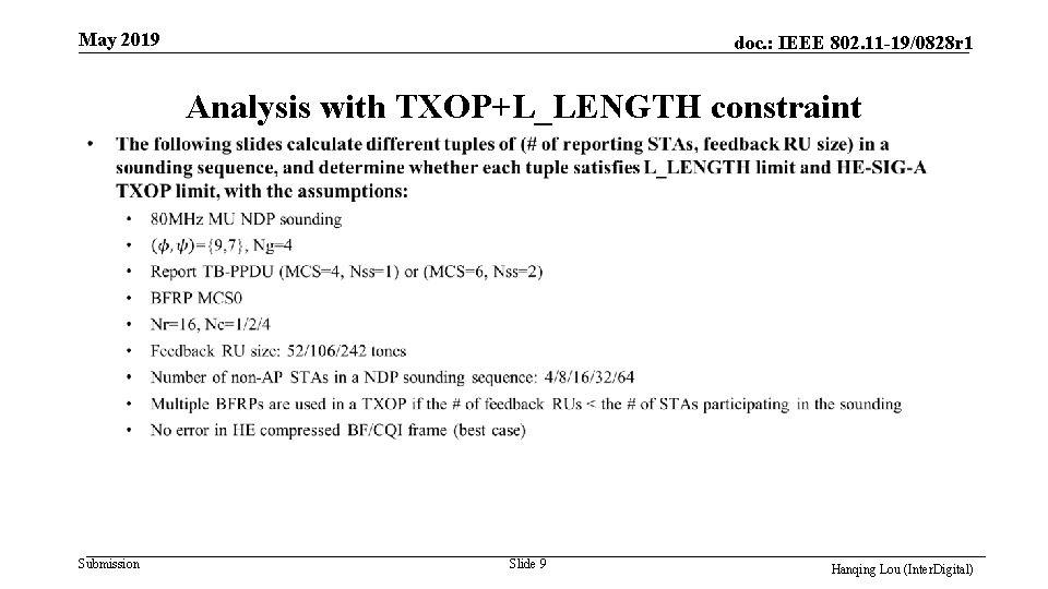 May 2019 doc. : IEEE 802. 11 -19/0828 r 1 Analysis with TXOP+L_LENGTH constraint