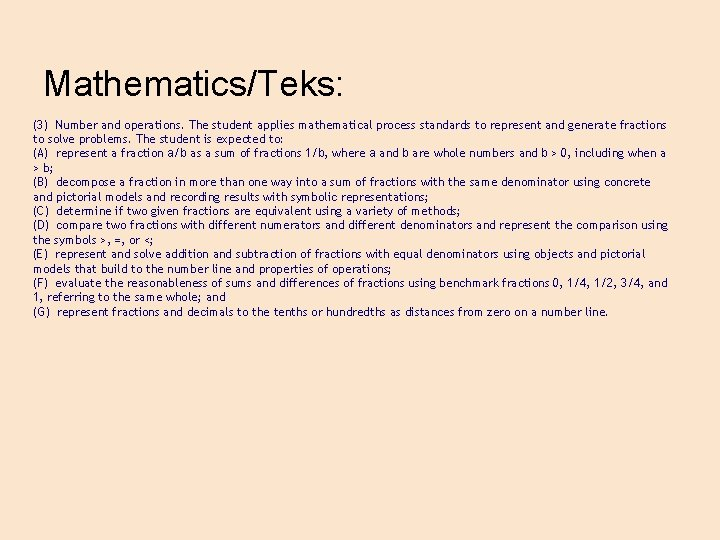 Mathematics/Teks: (3) Number and operations. The student applies mathematical process standards to represent and