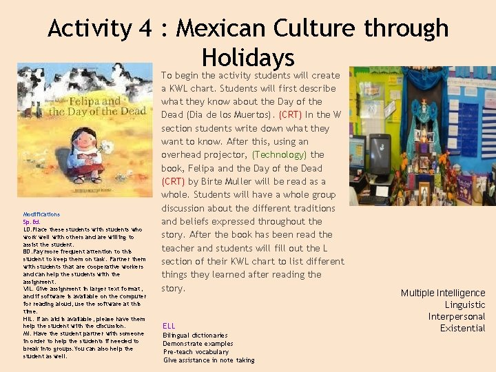 Activity 4 : Mexican Culture through Holidays Modifications Sp. Ed. LD: Place these students