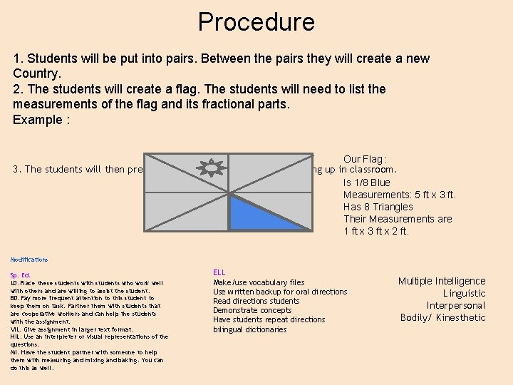 Procedure 1. Students will be put into pairs. Between the pairs they will create