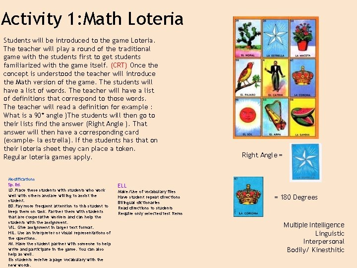 Activity 1: Math Loteria Students will be introduced to the game Loteria. The teacher