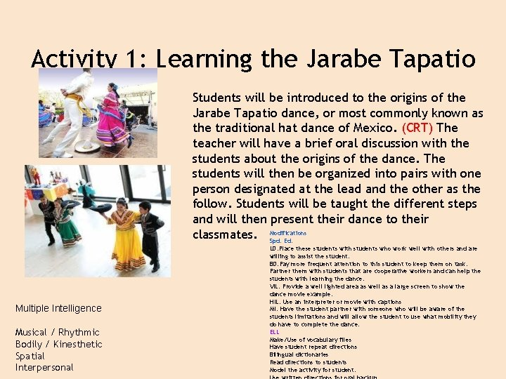Activity 1: Learning the Jarabe Tapatio Students will be introduced to the origins of