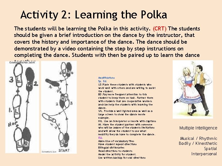 Activity 2: Learning the Polka The students will be learning the Polka in this