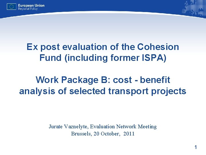 Ex post evaluation of the Cohesion Fund (including former ISPA) Work Package B: cost