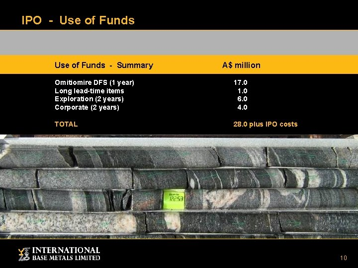 IPO - Use of Funds - Summary A$ million Omitiomire DFS (1 year) Long