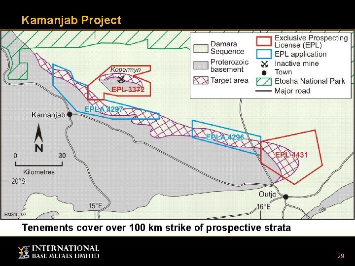 Kamanjab Project Tenements cover 100 km strike of prospective strata 29