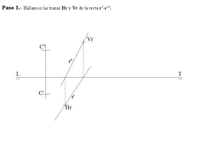 Paso 1. - Hallamos las trazas Hr y Vr de la recta r'-r''.