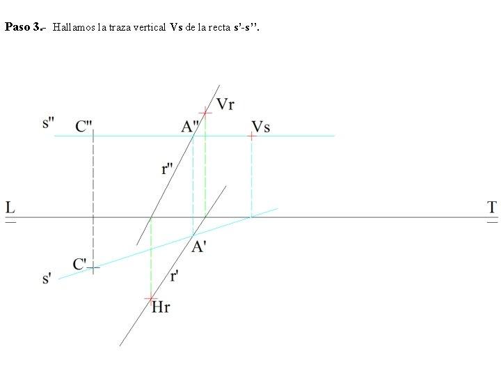 Paso 3. - Hallamos la traza vertical Vs de la recta s'-s''.