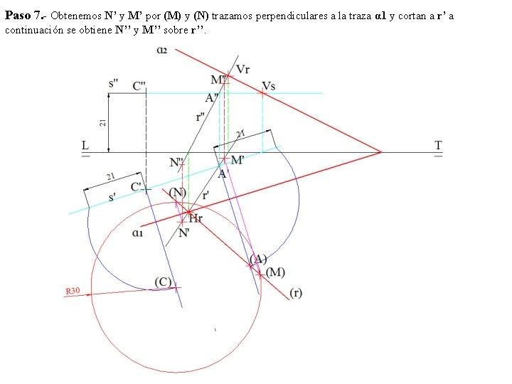 Paso 7. - Obtenemos N' y M' por (M) y (N) trazamos perpendiculares a