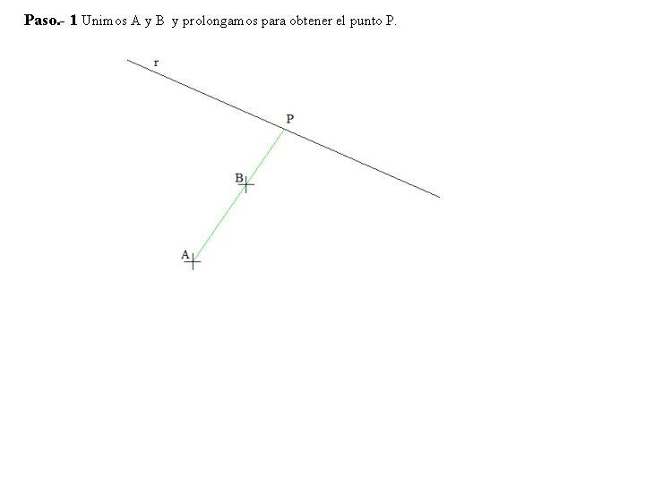 Paso. - 1 Unimos A y B y prolongamos para obtener el punto P.